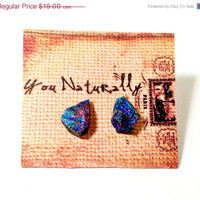 Peacock Ore Stud Earrings by YouNaturally on Etsy