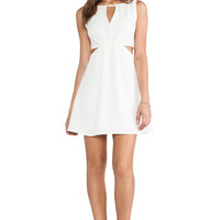 BCBGeneration Double Strap Exposed Flare Dress in Ivory