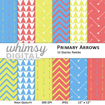 Primary Color Arrows Digital Paper with Arrow Patterns, Triangles, and Chevron in Red, Blue, Yellow, White