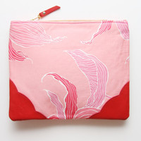 FLORIUM/ Satin & Leather clutch