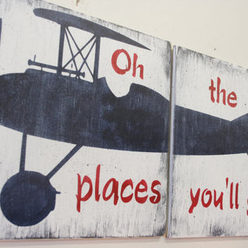 Oh The Places You'll Go Wood Sign Vintage Airplane Sign Boys Nursery Decor Boys Nursery Wall Art Vintage Nursery Baby Gift Above Crib Decor