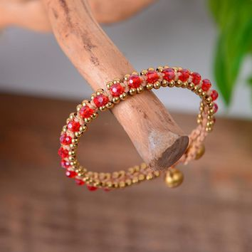Crystal Root Chakra Beads Bracelet for Inner Strength/ Willpower - Spiritual Fashion Accessory