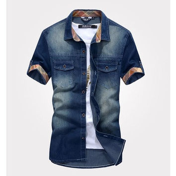 New fashion Men's Jeans Casual Slim Fit Stylish Wash-Vintage Denim Shirts Vintage Blue [8270421505]