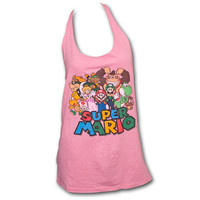 Super Mario World Nintendo Upcycled Womens Pink Tank Top | TeesForAll.com