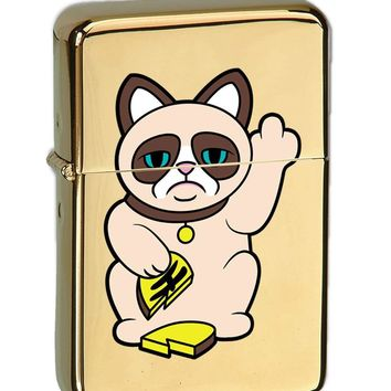 Grumpy Neko Unlucky Lucky Cat With Broken Coin Vector KGM Thunderbird Vintage Lighter - High Polish Brass Finish