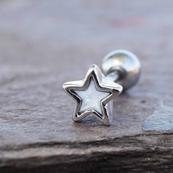 Silver White Opal Star Cartilage Earring