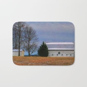 Christmas Barn Bath Mat by Scott Hervieux