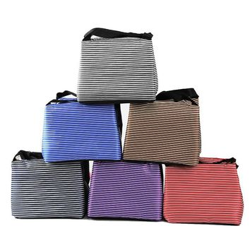 Insulated Striped Lunch Tote Bag for Women, Men And Children