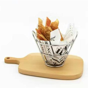 Stainless Steel French Fry Stand Cone Basket Snack Holder Fries Fry Bucket Chips And Appetizers Fast Food Shelf 1pcs