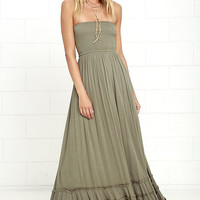 Dance Floor Darling Strapless Olive Green Maxi Dress