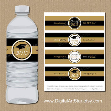 INSTANT DOWNLOAD Black and Gold Graduation Drink Labels - DIY Graduation Party Printables - 2015 Grad Water Wrappers  - Water Labels