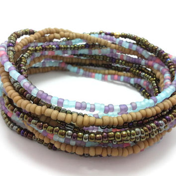 Seed bead wrap stretch bracelets, stacking, beaded, boho anklet, bohemian, stretchy stackable multi strand, brown khaki blue pink purple