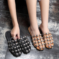 LTTL 2017 Summer Zapatos Mujer Amelia Designer Shoes Woman Slippers Cut-outs Caged Sandals Women Rivet Silver Studs Flat Slides