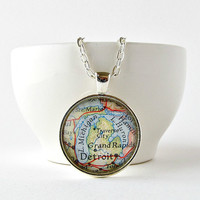 Michigan Map Necklace / Michigan State Pendant / Christmas Gift for Her / Detroit Map Pendant  / Stocking Stuffers for Women