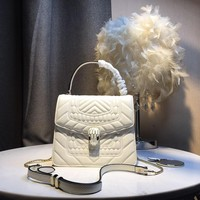 Kuyou Gb5988 Bvlgari Serpenti Forever Flap Bag Top Handle Bag In White Quilted 20¡Á16¡Á8cm