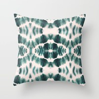 BOHEMIAN EMERALD SHIBORI Throw Pillow by Nika