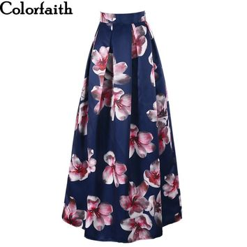 2017 Satin Women 100cm High Waist Flared Maxi Skirts Retro Floral Printed Pleated Floor Length Long Skirts Saias SP031