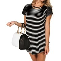 Striped Tunic With Faux Leather