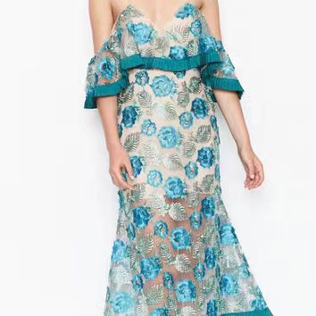 Blue Off Shoulder Ruffle Embroidery Sheer Lace Midi Dress