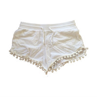Shelby Shorts //  White Size SMALL Re-Made Shorts with Pom Pom Trim