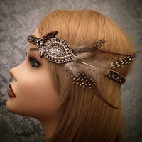 1920's Inspired Ornate Feathered Flapper Elastic Headband Gold Silver Brown Pearl Rhinestone Beaded 1920 20s Feather Art Deco Decorative