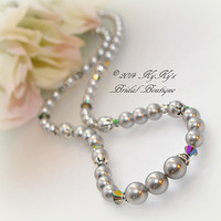 Pearl Bridesmaid Necklace with Sterling Silver Bead Caps, Wedding Jewelry, Bridal Necklace