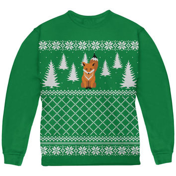 Fox Ugly Christmas Sweater Green Youth Sweatshirt