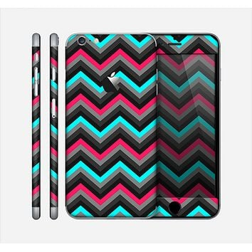 The Sharp Pink & Teal Chevron Pattern Skin for the Apple iPhone 6 Plus