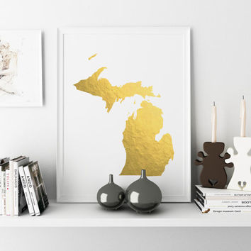 USA MAP PRINTABLE Michigan Gold Foil Print print Michigan state silhouette Michigan map Art printable Michigan wall art Usa Map Art Poster