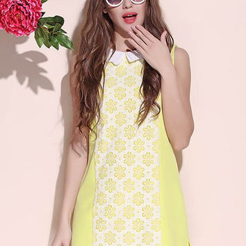 Yellow Floral Print Sleeveless Mini Dress