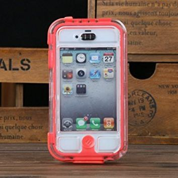 Intsun® 3M Waterproof Case Photo Housing Surfing Underwater Diving Case cover, professional waterproof camera submersible waterproof protective case cover bag Underwater Photo Capture Water sport Diving case for iPhone 4 4S iPhone 5 5S 5C (Red, iPhone 5/5S