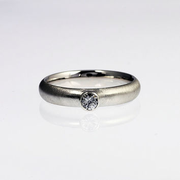 0.25ct Diamon engagement ring, bezel, white gold ring, modern engagement, contemporary, diamond wedding, simple, unique diamond ring