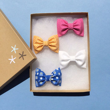 Blue daisy, white denim, and yellow and pink dot Seaside Sparrow hair bow lot.  Beautiful birthday gift for her this Spring/Summer.