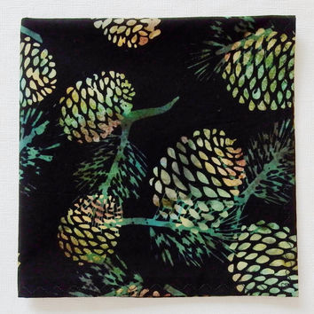 "12"" Pinecone Handkerchief, Batik Hankies, Pinecone Hanky, Black Pocket Square, Pinecone Hankies, Pinecone Pocket Square"