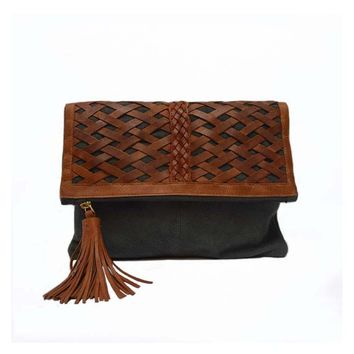 Ivy Leather Clutch in Storm Grey