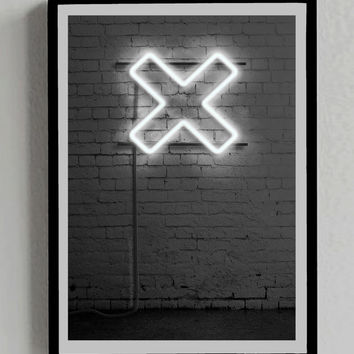 The XX, Neon Sign, Decorative Poster, Music, Colors, Light, Decor, Symbol, Print, Gift, Cross, Picture