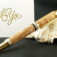 Cambridge Fountain Pen in Quilted Maple with Sterl Silver and Gold h/w