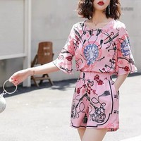 """Dior"" Women Casual Fashion Retro Pattern Print Short Sleeve Shorts Set Two-Piece Sportswear"