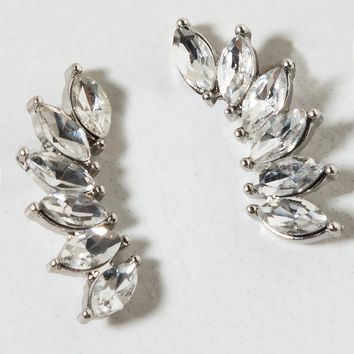 AKIRA Label Crystal Crawler Earring in SILVER