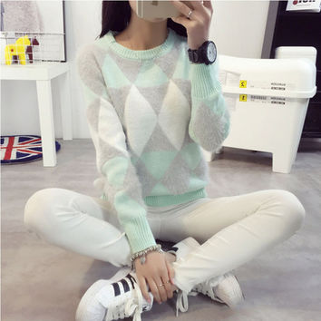 Petite Classic Crew Neck Woolen Mohair Diamond Pattern Knit Pastel Color Sweater