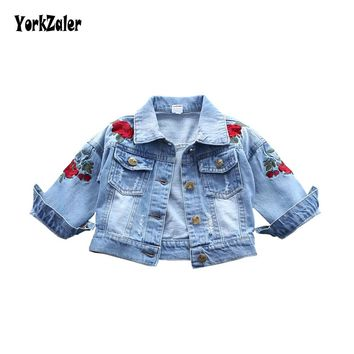 Yorkzaler Baby Girls Denim Jacket 2018 Fashion Children Outerwear Embroidery Flowers Jeans Coats For Girl Kids Autumn Clothing