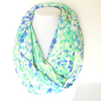 Green Infinity scarf, Mint Infinity scarf, Spring scarf, Summer Scarf, Watercolor scarf