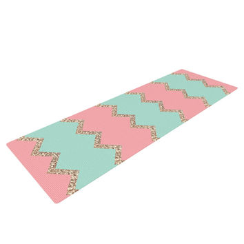 "Monika Strigel ""Avalon Soft Coral and Mint Chevron"" Orange Green Yoga Mat"