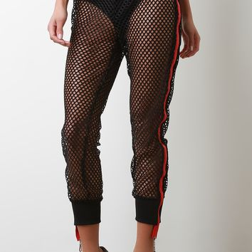 Sporty Zipper Stripe Fishnet Mesh Jogger Pants