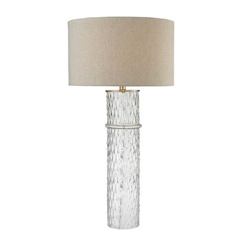 Two Tier Glass Table Lamp with Grey Linen Shade