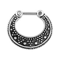 Dotted Pattern Two Tone Septum Clicker Ring