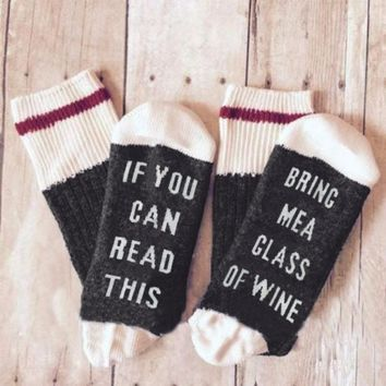 2017 Fashion Winter If You Can Read This Bring Me A Glass Of Wine Socks women Cute Socks Warm Letter Print Casual Socks