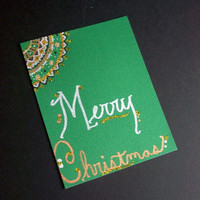 Ever Green Christmas Note Cards - Hand Drawn - Set of 3 - Envelopes included