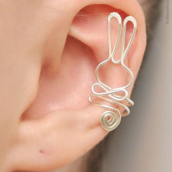 Ear Cuff Be My Bunny silver plated by KOZLOVA on Etsy