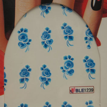Nail art water decals Floral nail decals Water nail transfers Blue rose decals